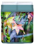 Autumn Color Changing Leaves On A Tree Branch Duvet Cover