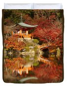 Autumn Colours At Daigo-ji Temple In Kyoto In Japan Duvet Cover