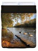 Autumn Colours At Sunbury On Thames Surrey Uk Duvet Cover