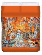 Autumn Deer Birch Background Duvet Cover