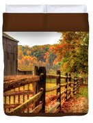 Autumn Fence Posts Scenic Duvet Cover