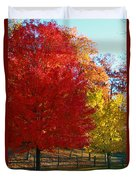 Autumn Fire  In  Red  And  Gold Duvet Cover