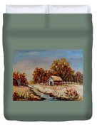 Autumn House By The Stream Duvet Cover