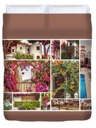 autumn houses,  gardens and balconies in Portugal Duvet Cover by Ariadna De Raadt