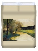 Autumn Landscape Of Brook In The Evening Light Duvet Cover