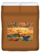 Autumn Landscape With Fox Duvet Cover