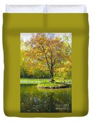Autumn Landscape With Red Tree Duvet Cover