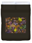 Autumn Leaves At Side Of Road Duvet Cover