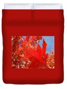 Autumn Leaves Fall Art Red Orange Leaves Blue Sky Baslee Troutman Duvet Cover