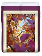 Autumn Leaves In Blue Sky Duvet Cover
