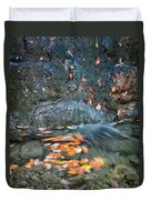 Autumn Leaves In Waterfall Duvet Cover