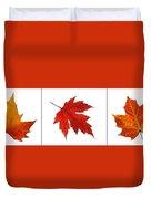 Autumn Leaves Triptych Duvet Cover
