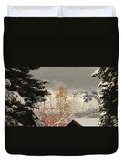 Autumn Leaves Winter Snow Duvet Cover