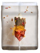 Autumn Mannequin With Falling Leaves Duvet Cover