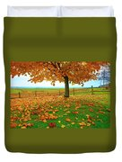 Autumn Maple Tree And Leaves Duvet Cover