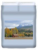 Autumn Mountain Cabin In Glacier Park Duvet Cover by Bruce Gourley