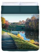 Autumn On Lake Inspiration Duvet Cover