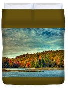 Autumn On The Moose River In Thendara Duvet Cover