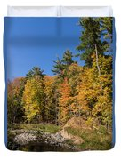 Autumn On The Riverbank - The Changing Forest Duvet Cover