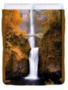 Autumn Orange Multnomah Falls Duvet Cover