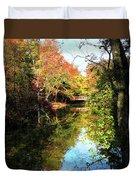 Autumn Park With Bridge Duvet Cover
