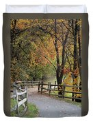 Autumn Path In Park In Maryland Duvet Cover