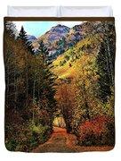 Autumn Path To Stewart Falls Duvet Cover