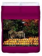 Autumn Pumpkins And Cornstalks Graphic Effect Duvet Cover