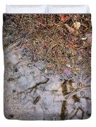 Autumn Rain On Concrete Duvet Cover