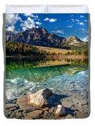 Autumn Reflection Of Pyramid Mountain Duvet Cover