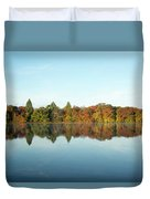 Autumn Reflections At Belmont Lake Duvet Cover