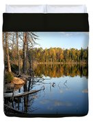 Autumn Reflections On Little Bass Lake Duvet Cover
