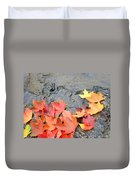 Autumn River Landscape Red Fall Leaves Duvet Cover