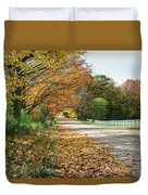 Autumn Road With Fence  Duvet Cover