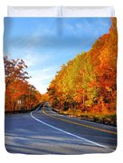 Autumn Scene With Road In Forest 2 Duvet Cover