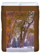 Autumn Snow Park Bench   Duvet Cover by James BO  Insogna