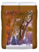 Autumn Snow Park Bench Peace Duvet Cover