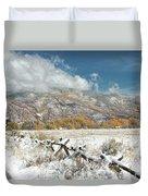 Autumn Snowfall In Aspen Duvet Cover