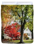 Autumn Street With Red Tree Duvet Cover