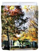 Autumn Street With Yellow House Duvet Cover