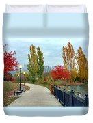 Autumn Stroll In The Park Duvet Cover