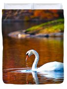 Autumn Swan Lake Duvet Cover