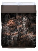 Autumn Trees Growing On Mountain Rocks Duvet Cover
