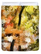 Autumn Trees In The Fog Duvet Cover