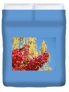 Autumn Trees Red Yellow Fall Tree Blue Sky Landsape Duvet Cover