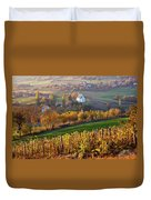 Autumn View Of Church On The Rural Hills Duvet Cover