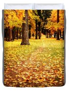 Autumn Walk In Spokane Duvet Cover