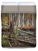Autumn Woodland Marsh Scene Duvet Cover