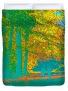 Autumn Woodland Walk Turquoise Duvet Cover