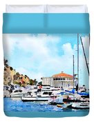 Avalon Casino Harbor, Catalina Duvet Cover